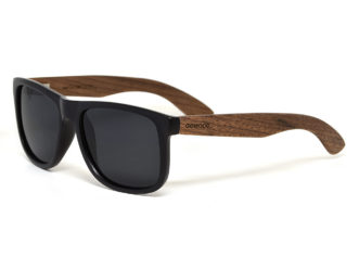 Square walnut wood sunglasses with black polarized lenses