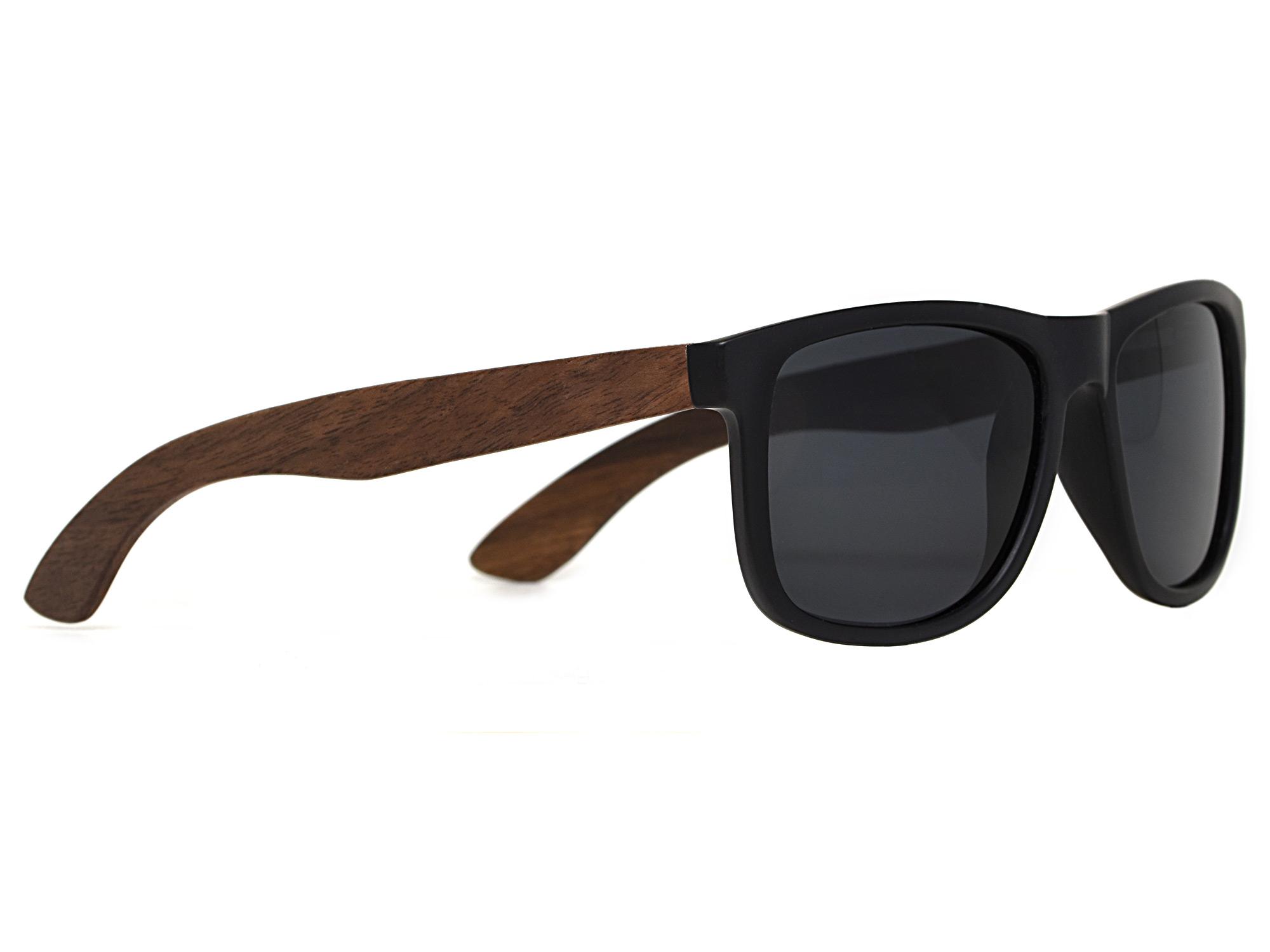 Square walnut wood sunglasses with black polarized lenses right