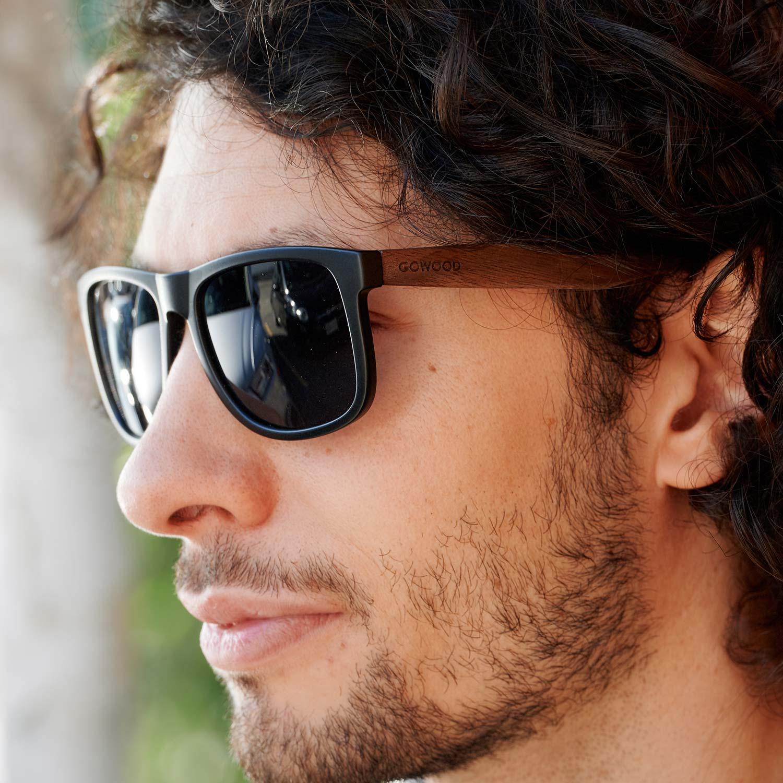 Square walnut wood sunglasses black polarized lenses on men