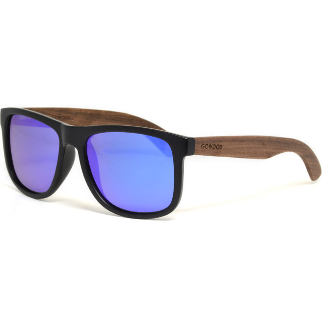 Square walnut wood sunglasses blue mirrored polarized lenses