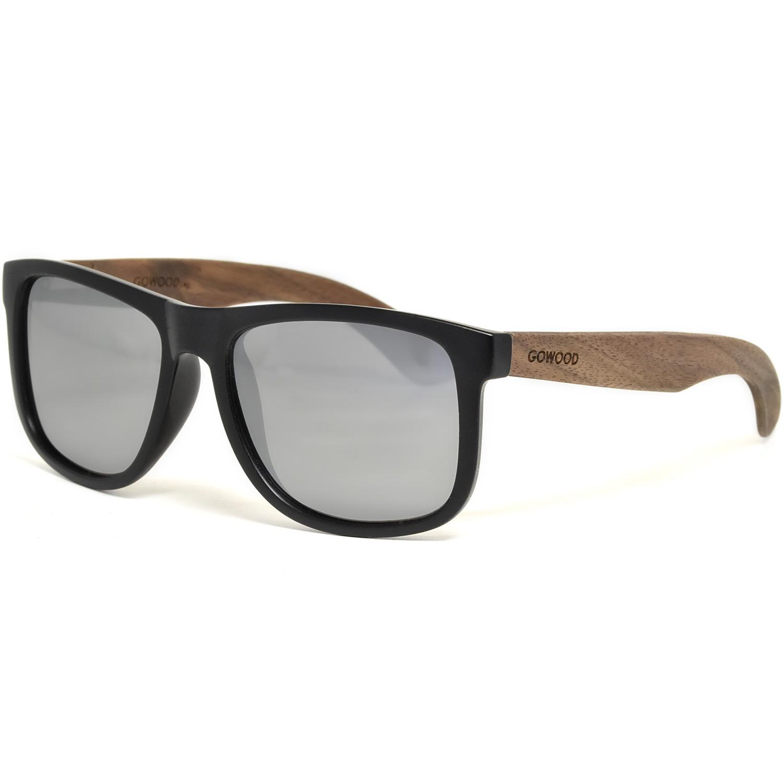 Square walnut wood sunglasses silver mirrored polarized lenses