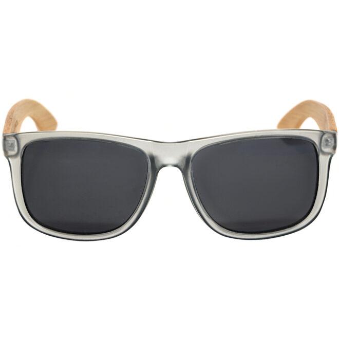 Square bamboo wood sunglasses black polarized lenses