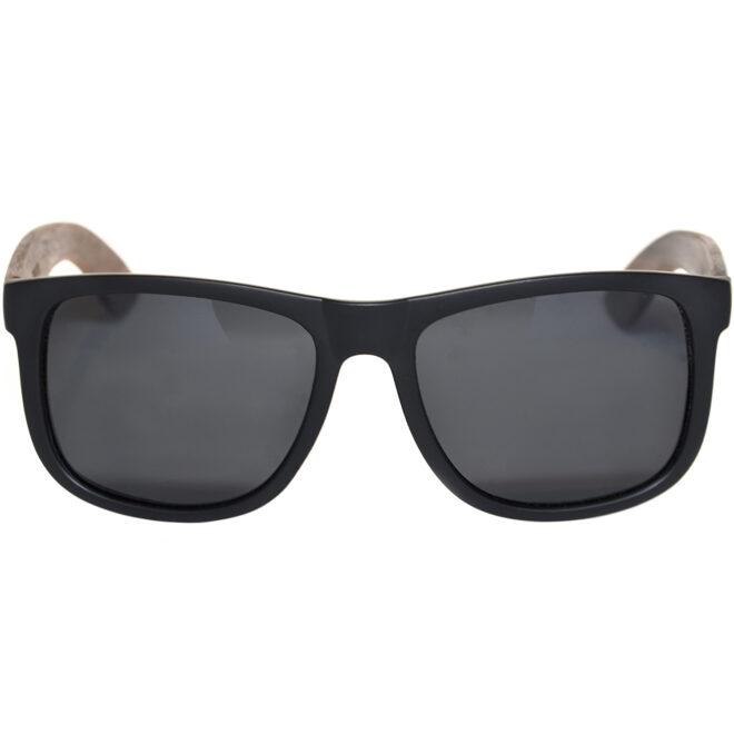 Square walnut wood sunglasses black polarized lenses acetate front