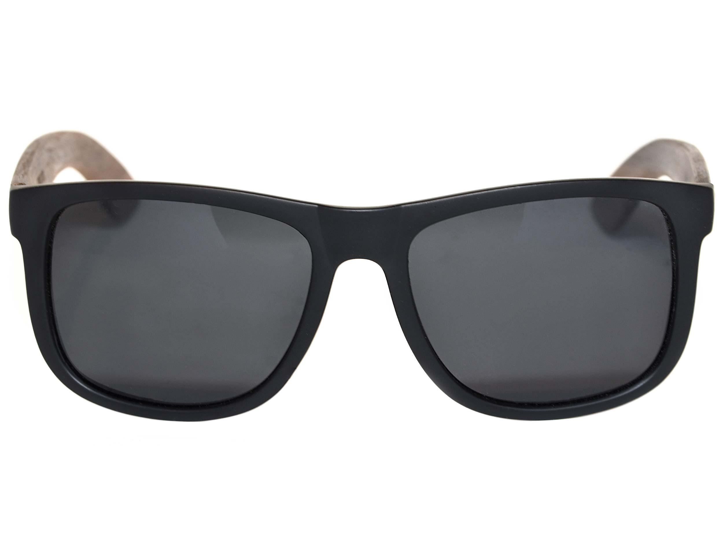 Square walnut wood sunglasses