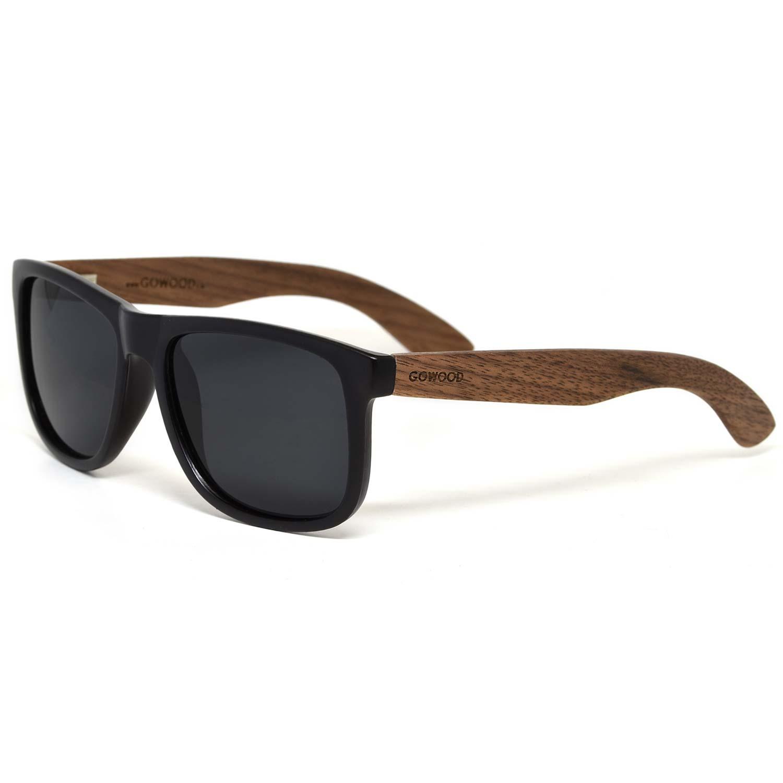 Square walnut wood sunglasses black polarized lenses left