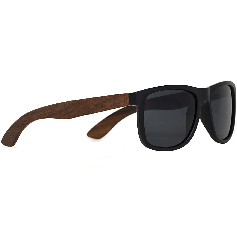 Square walnut wood sunglasses black polarized lenses right