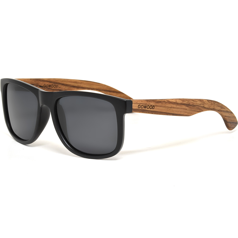 Square zebra wood sunglasses black polarized lenses
