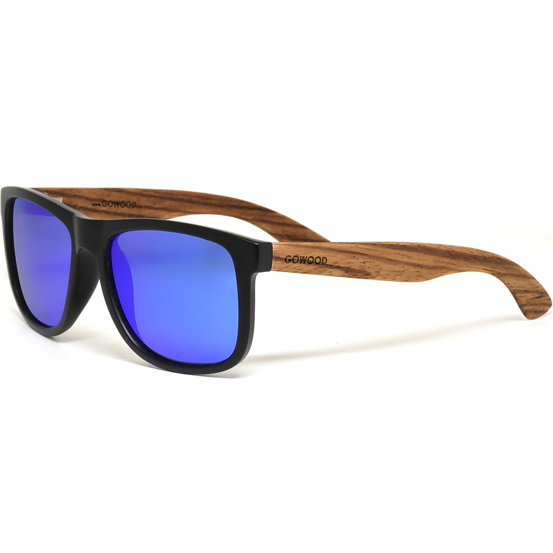 Square zebra wood sunglasses blue mirrored polarized lenses