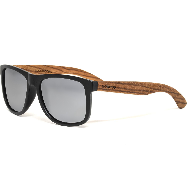Square zebra wood sunglasses silver mirrored polarized lenses