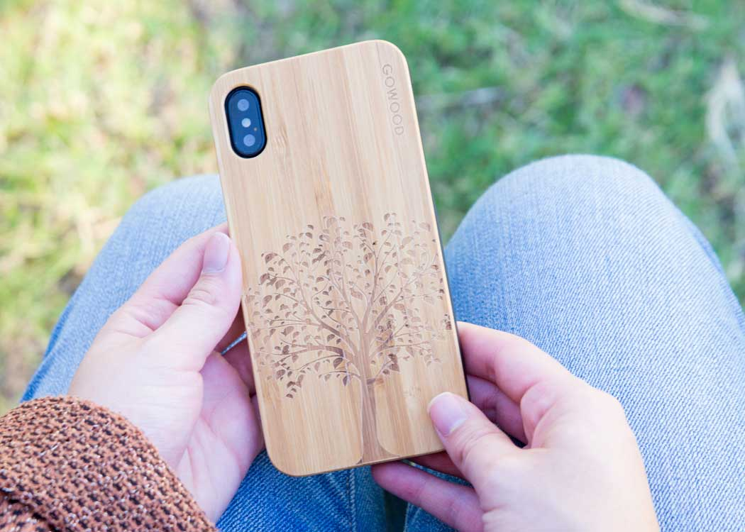iPhone X bamboo phone case