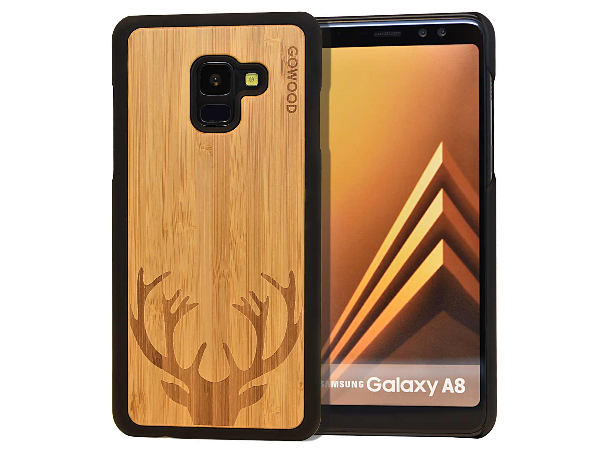 Samsung Galaxy A8 wood case deer front