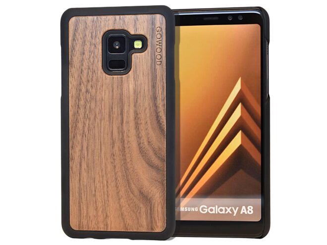 Samsung Galaxy A8 wood case walnut front