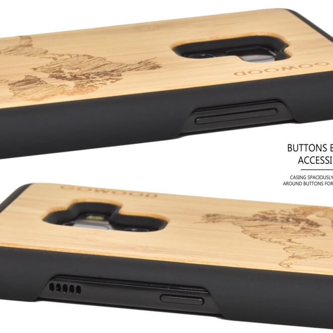 Samsung Galaxy A8 wood case bamboo world map