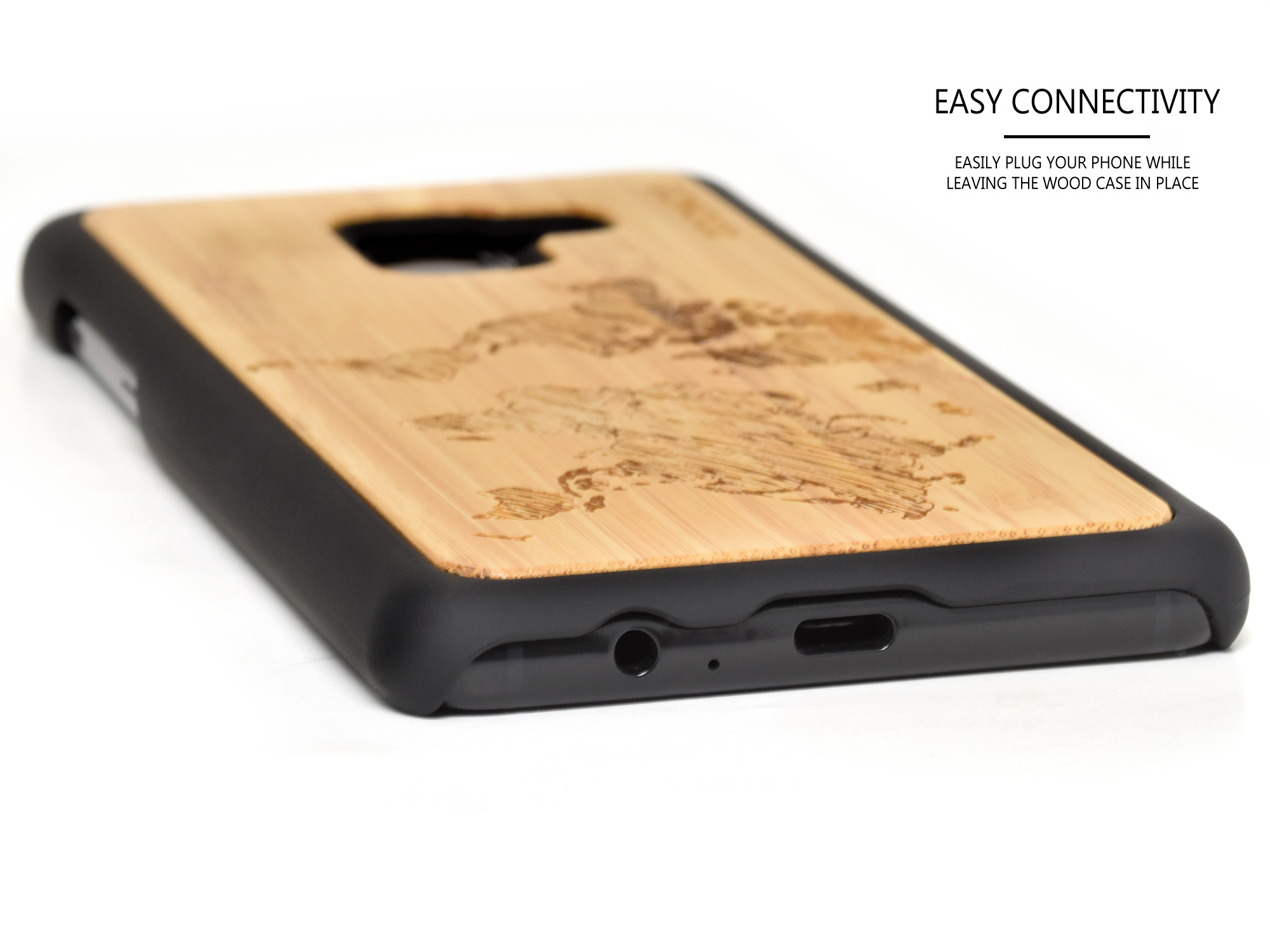 Samsung Galaxy A8 wood case bamboo world map