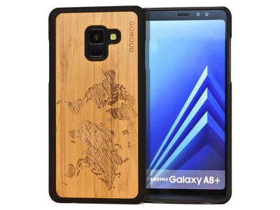 Samsung Galaxy A8 Plus wood case world map front