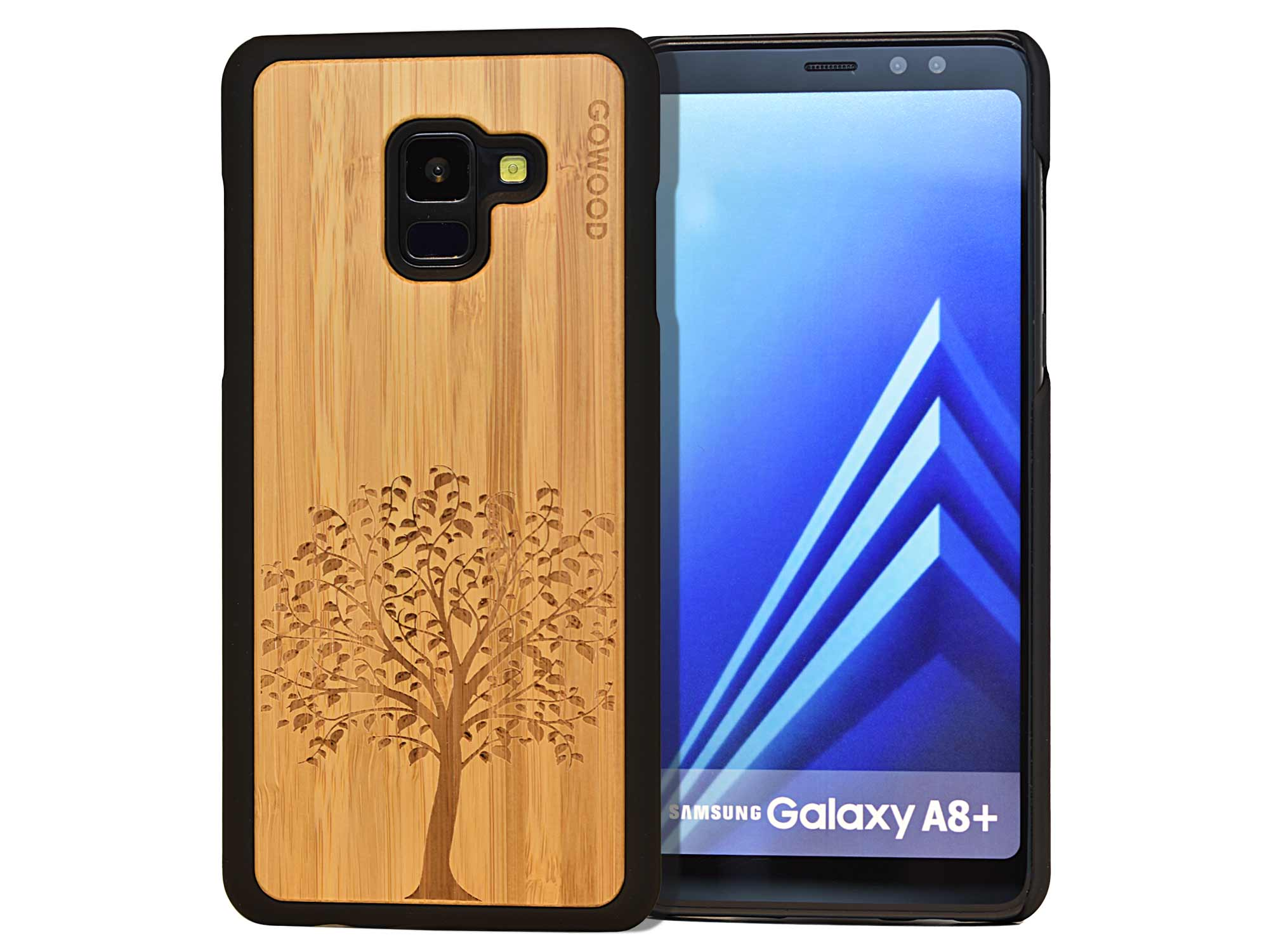 Samsung Galaxy A8 Plus wood case tree front