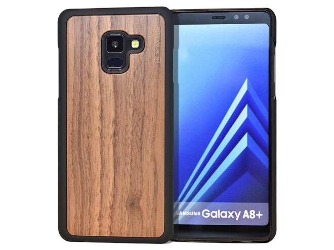 Samsung Galaxy A8 Plus wood case walnut front