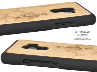 Samsung Galaxy A8 Plus wood case bamboo world map