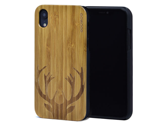 iPhone XR wood case deer front