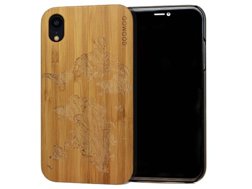 iPhone XR wood case world map front