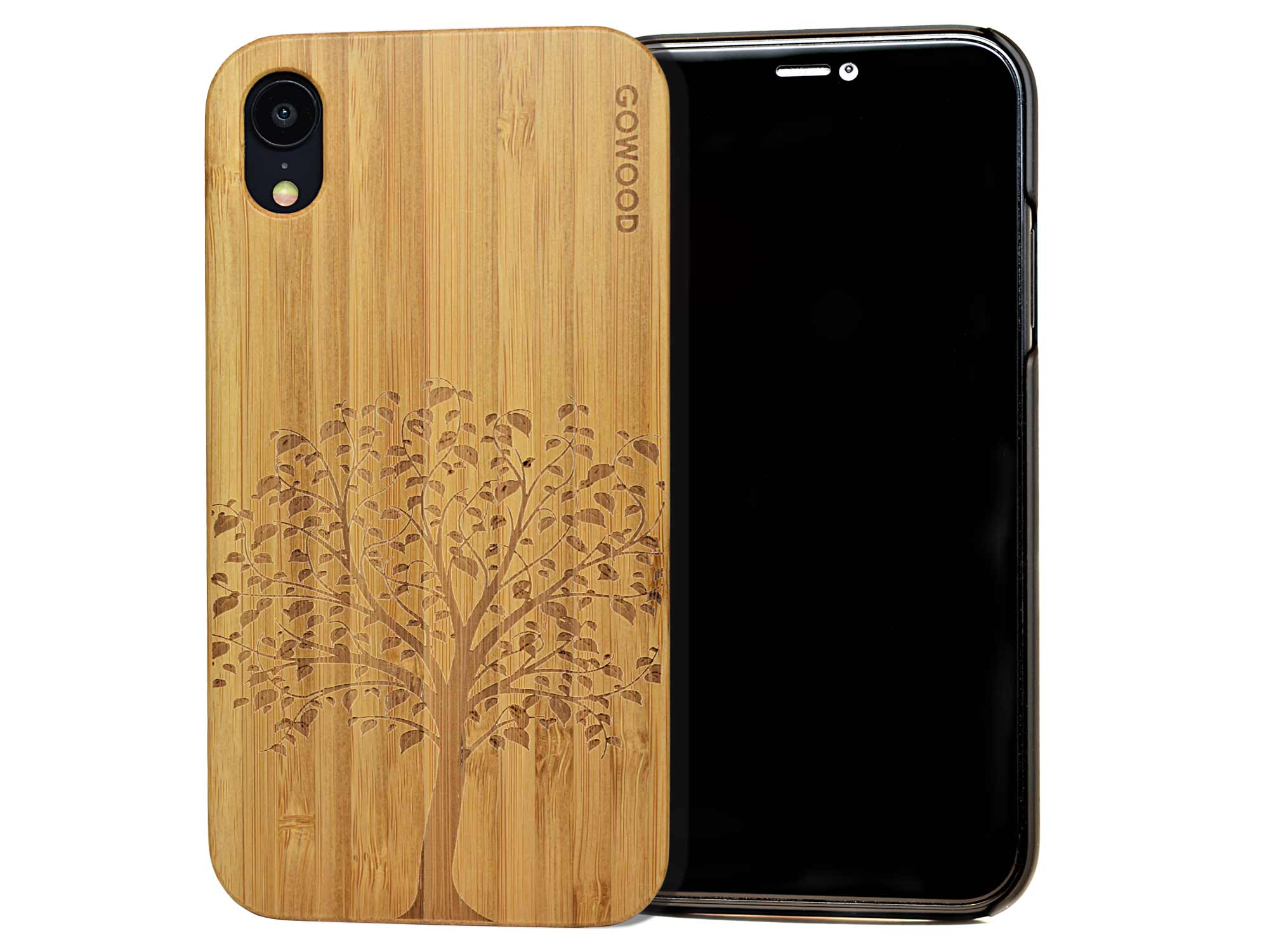 iPhone XR wood case tree front