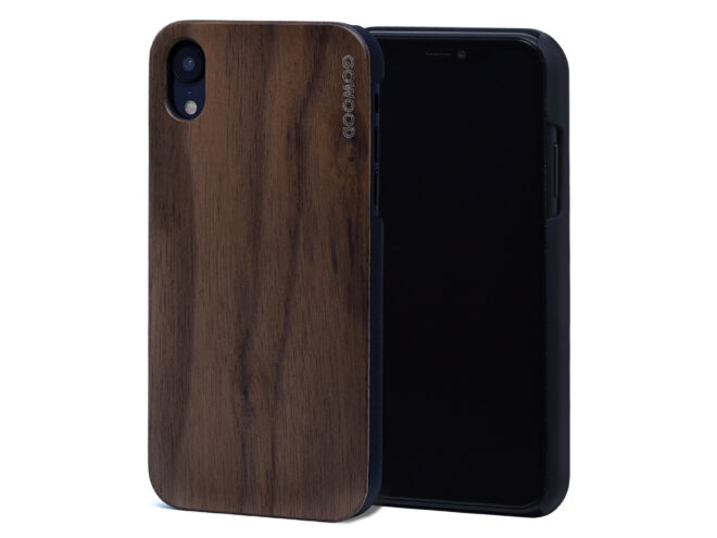 iPhone XR wood case walnut front