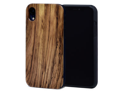 iPhone XR wood case zebra front