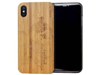 iPhone XS Max wood case world map front