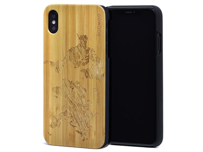 iPhone XS Max wood case bamboo world map