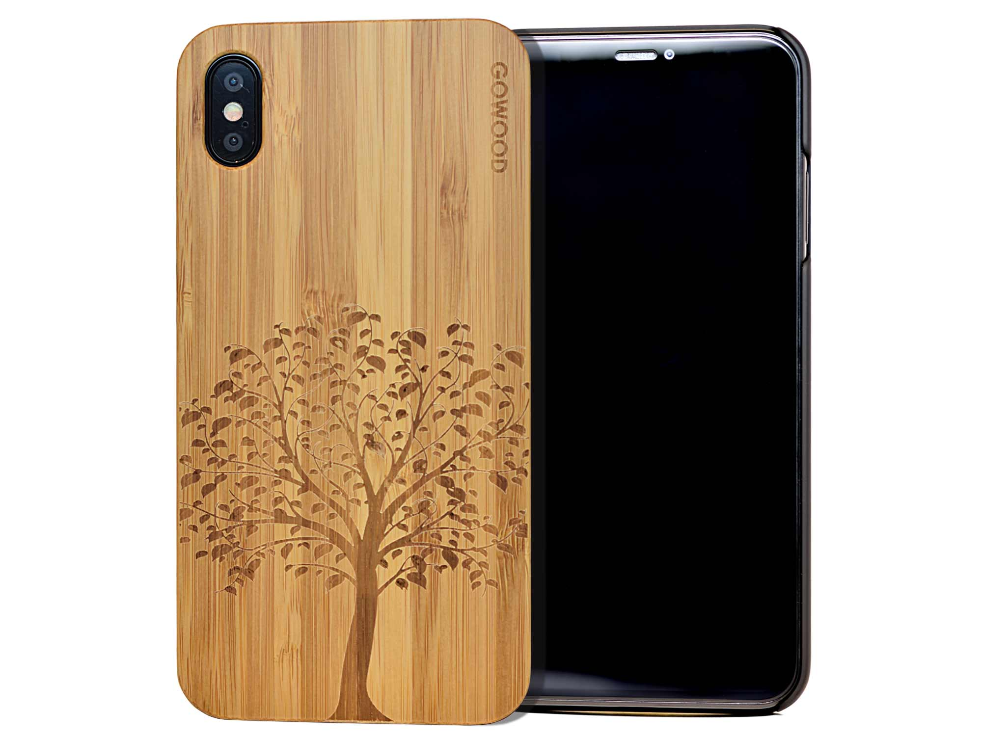 iPhone XS Max wood case tree front