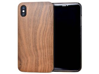 iPhone XS Max wood case walnut front