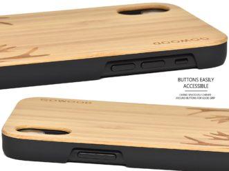 iPhone XR wood case bamboo deer