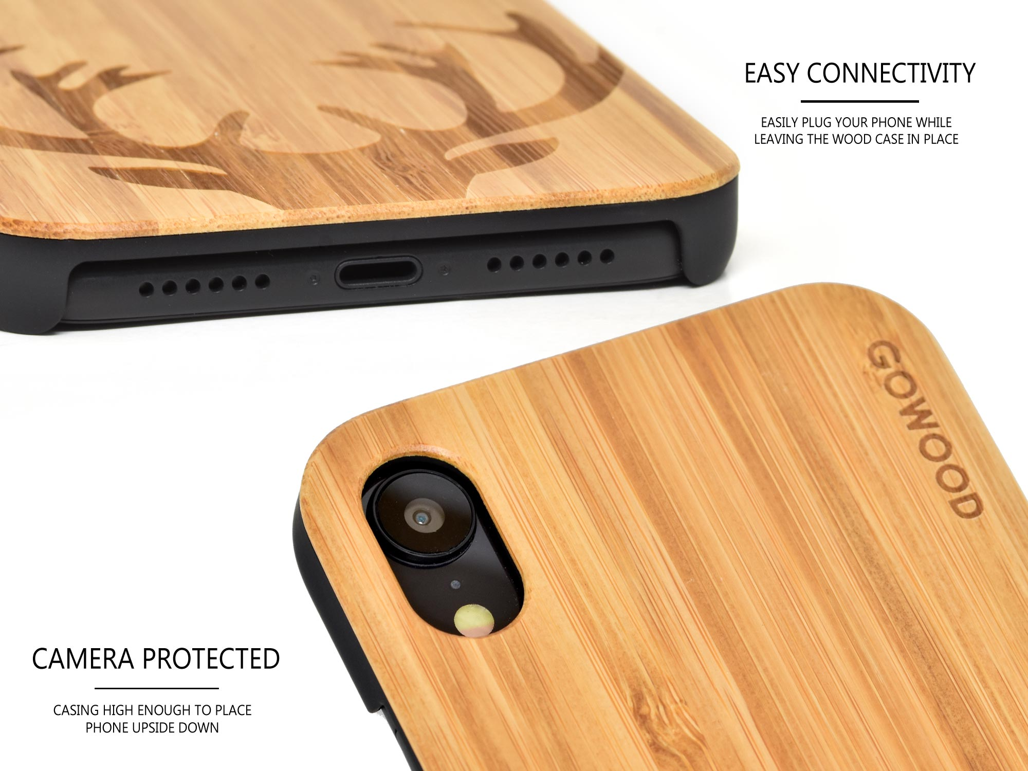 iPhone XR wood case bamboo deer