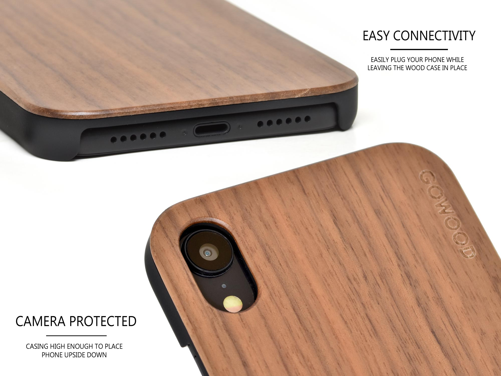 iPhone XR wood case walnut