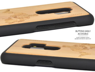 Samsung Galaxy S9 Plus wood case bamboo world map
