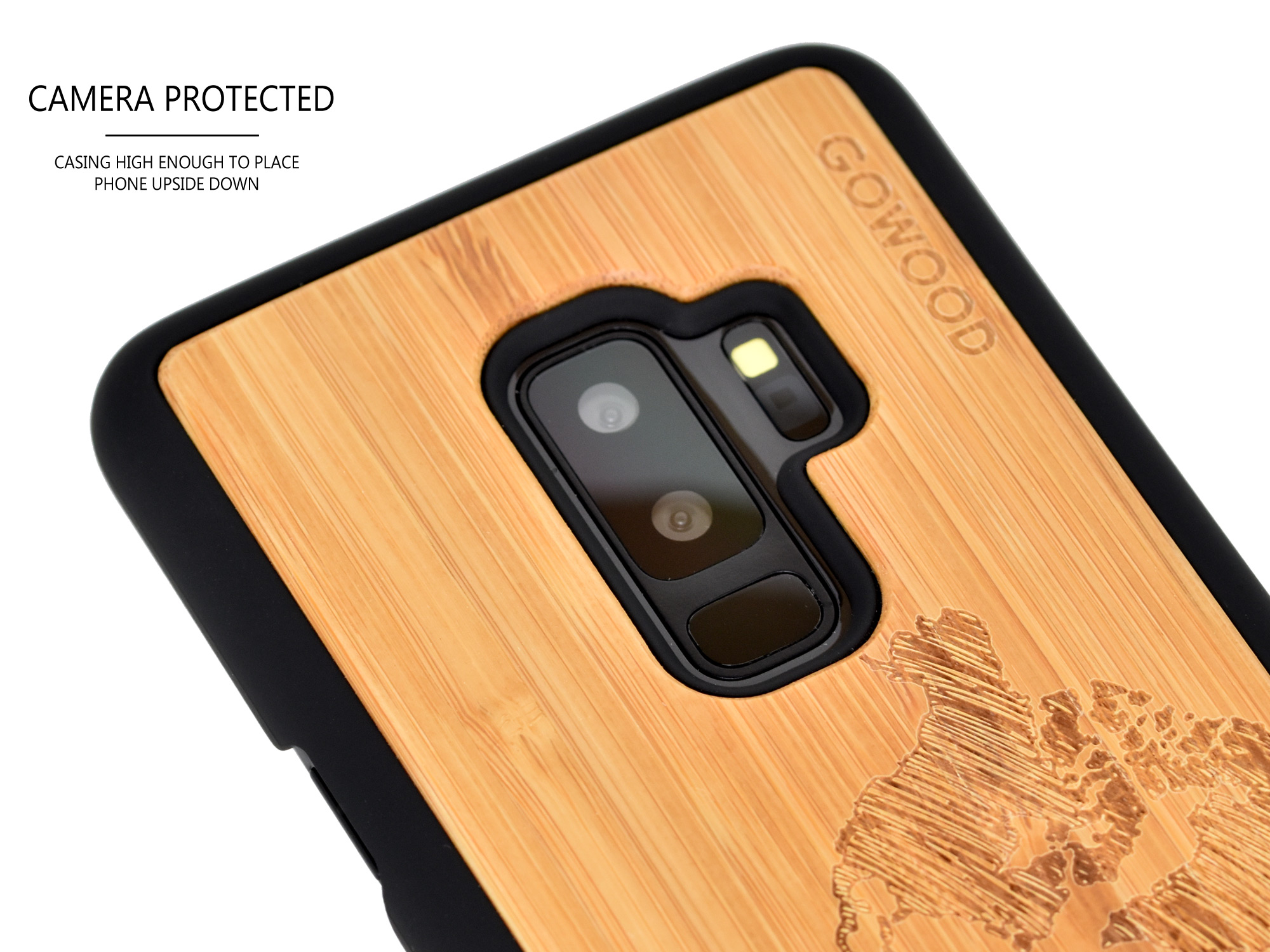Samsung Galaxy S9 Plus wood case bamboo world map