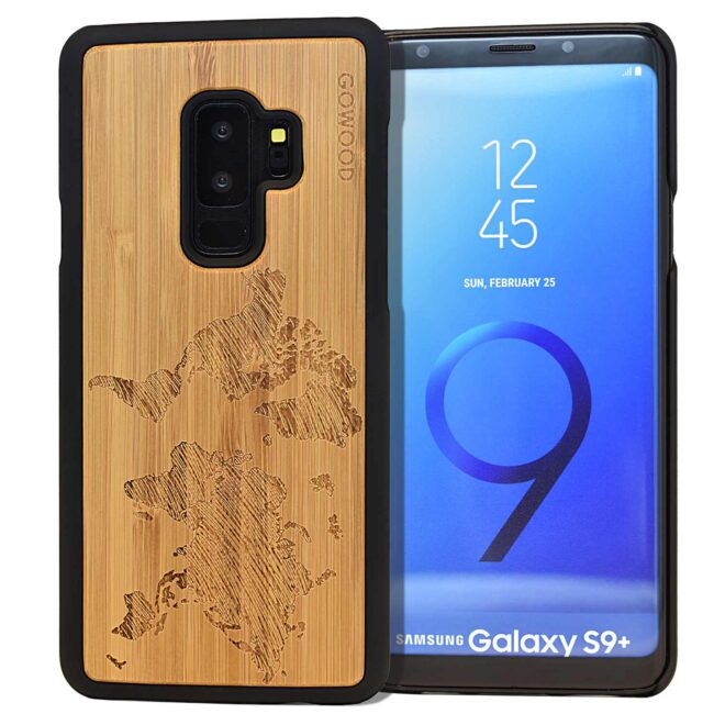Samsung Galaxy S9 Plus wood case world map front