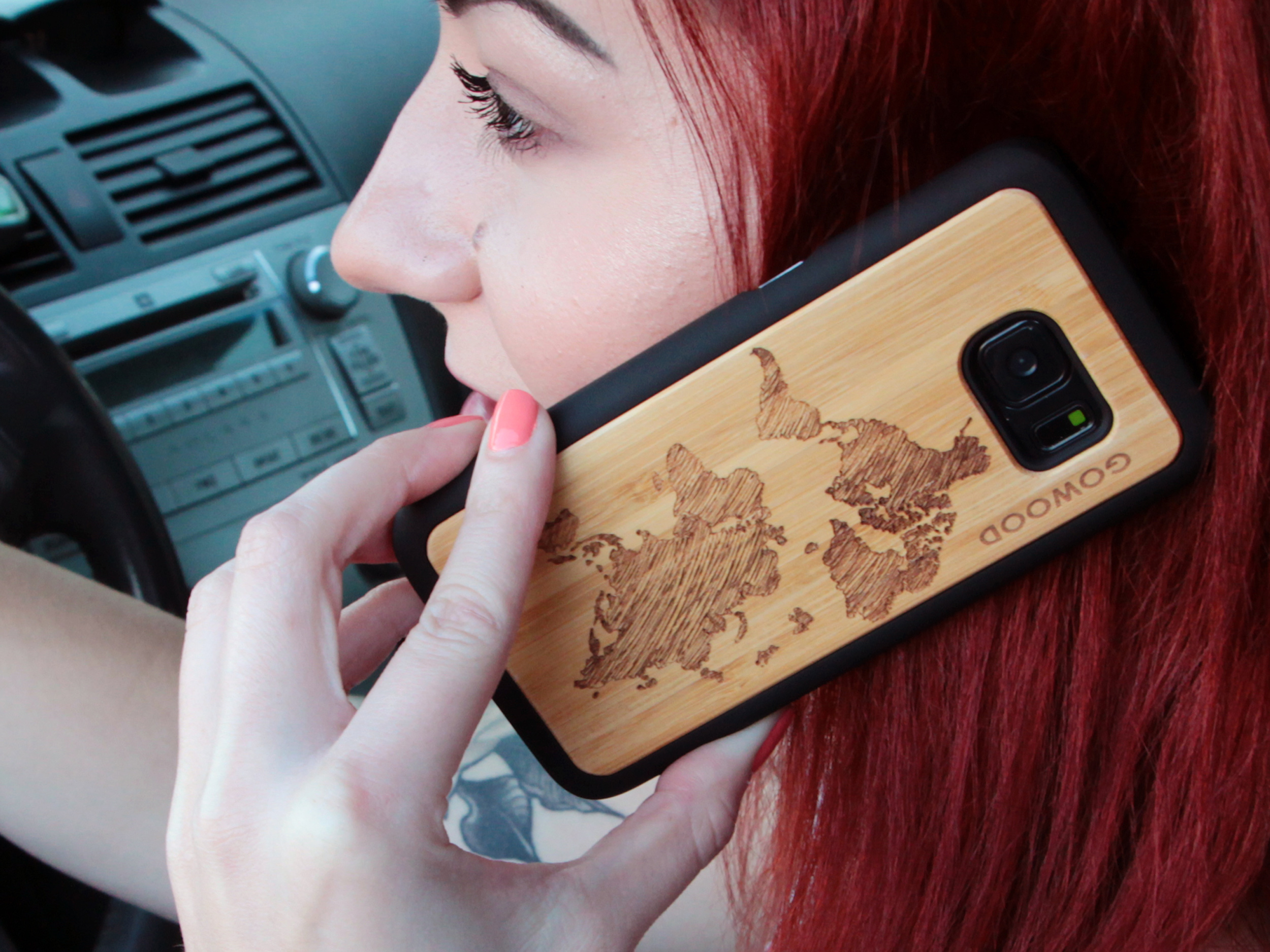 Samsung Galaxy S9 wood case bamboo world map