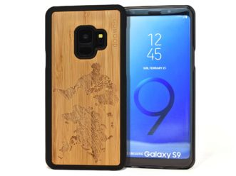 Samsung Galaxy S9 wood case world map front
