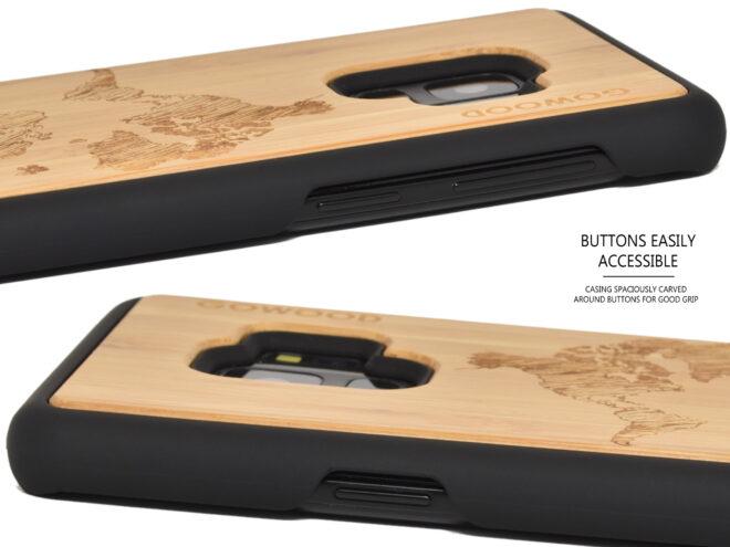 Samsung Galaxy S9 wood case bamboo world map