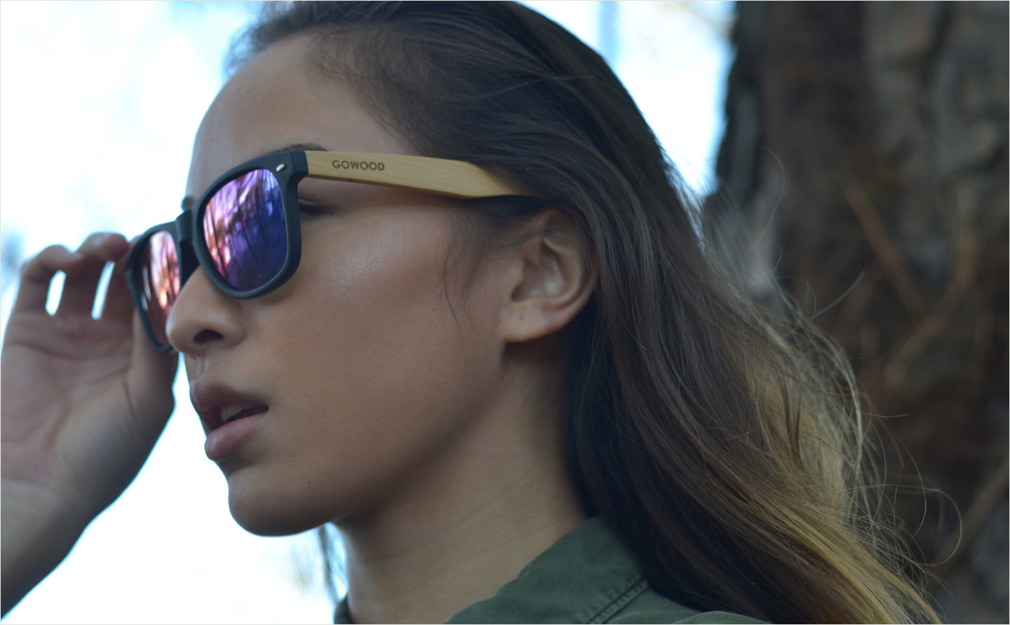 Bamboo wood sunglasses with blue mirrored polarized lenses