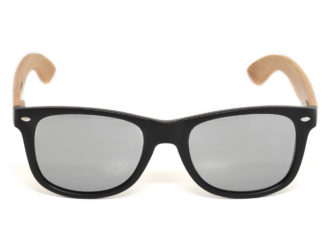 Bamboo wood sunglasses with silver mirrored lenses model front