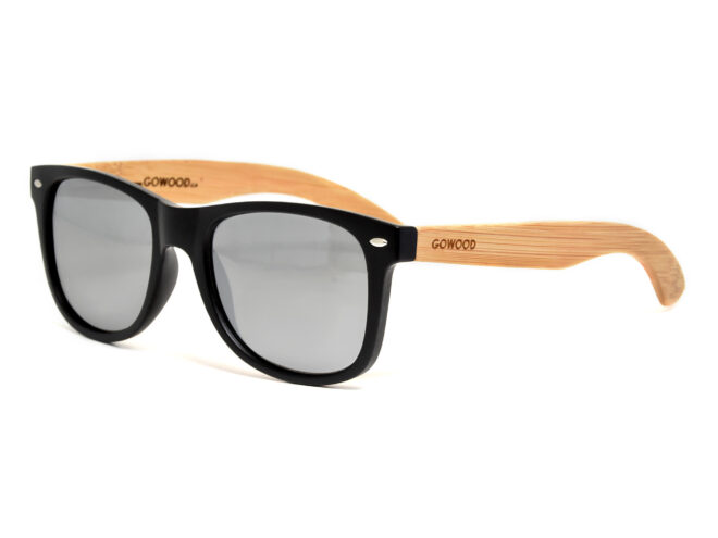 Bamboo wood sunglasses with silver mirrored lenses