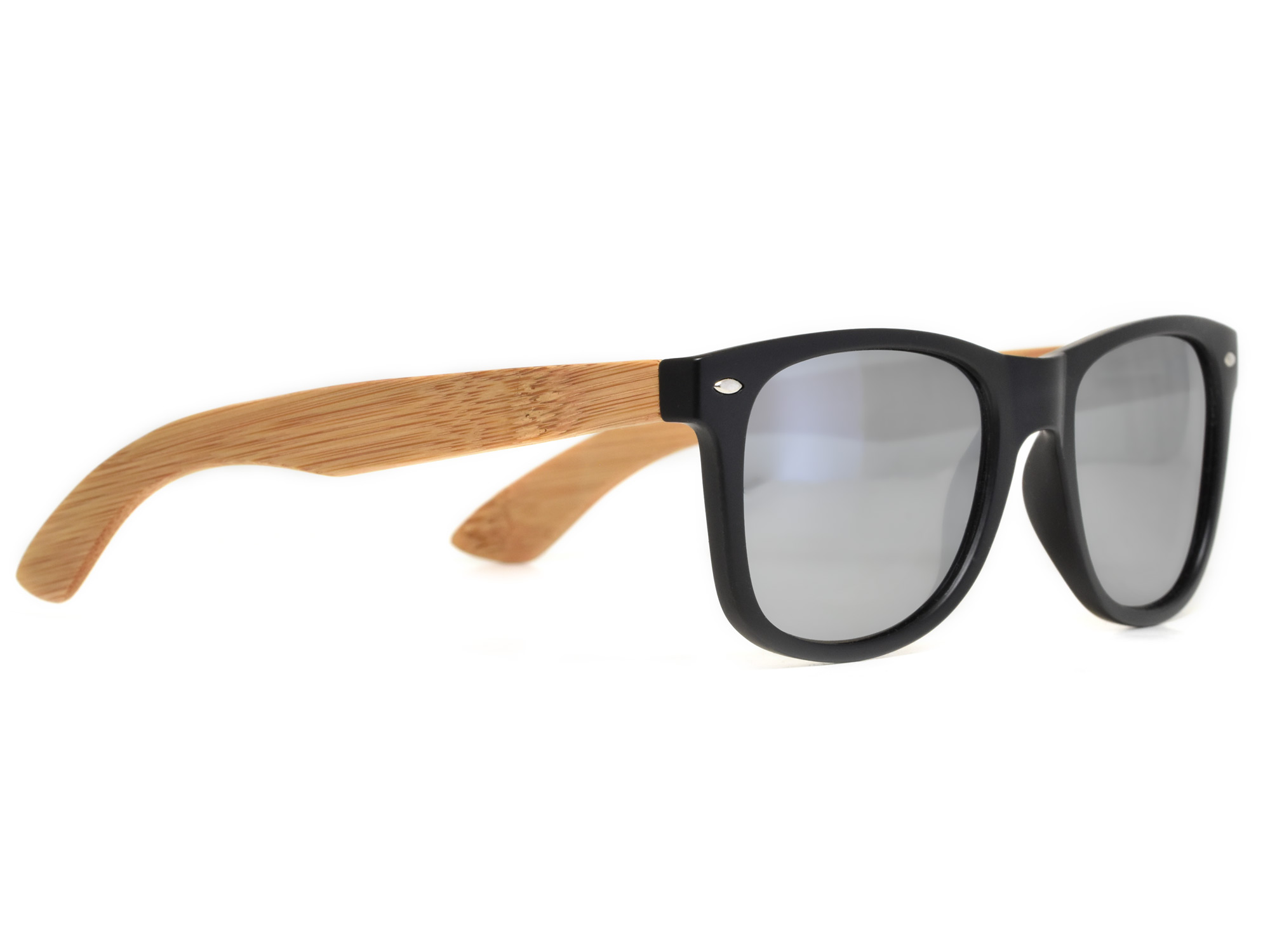 Bamboo wood sunglasses with silver mirrored lenses model right