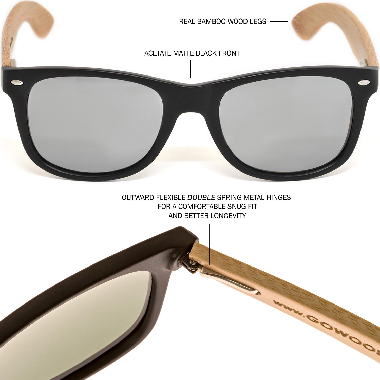 Bamboo wood wayfarer sunglasses silver lenses hinge