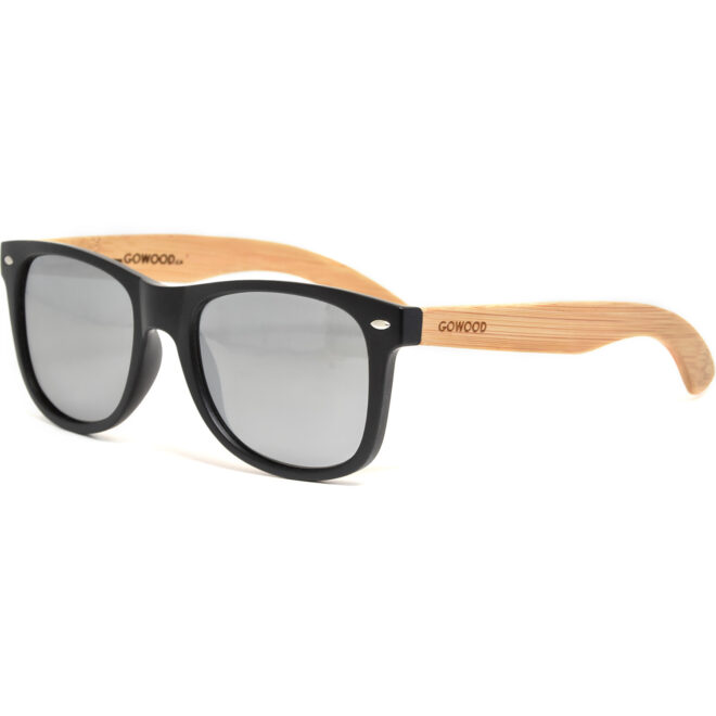 Bamboo wood wayfarer sunglasses with silver mirrored polarized lenses