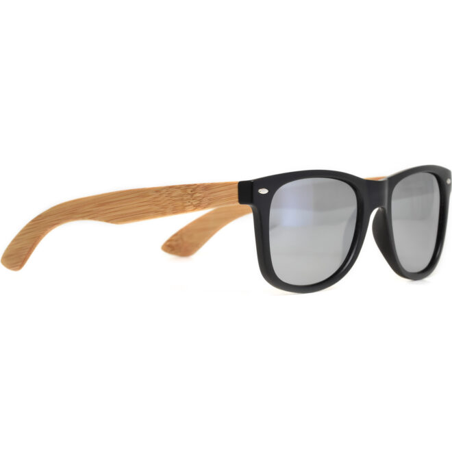 Bamboo wood wayfarer sunglasses silver lenses