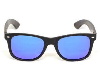 Ebony wood sunglasses with blue mirrored lenses front
