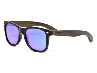 Ebony wood sunglasses with blue mirrored lenses