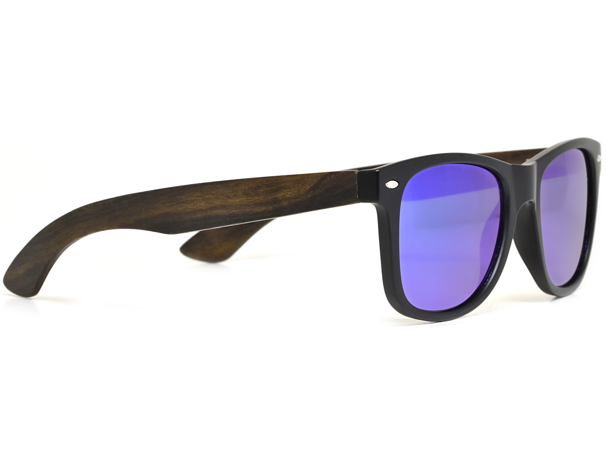 Ebony wood sunglasses with blue mirrored lenses right